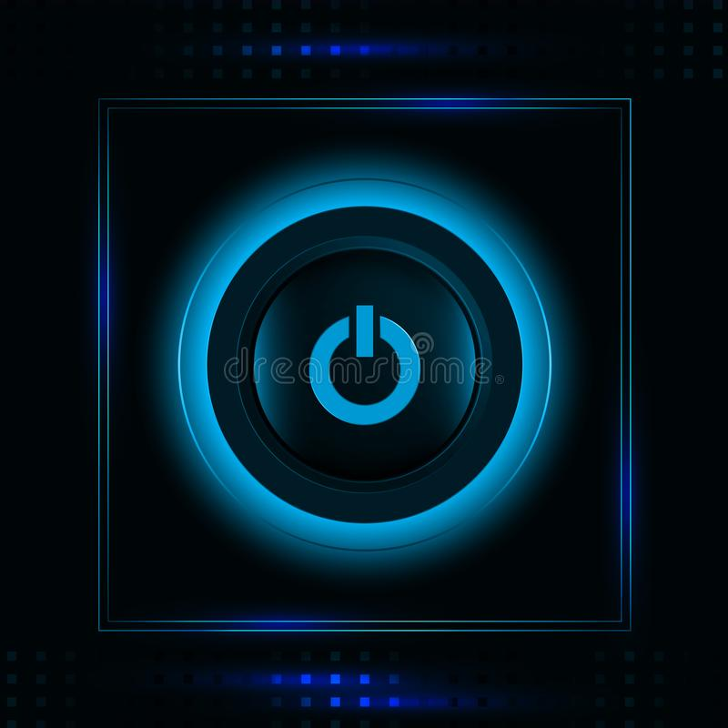 Modern glowing blue light power button icon vector illustration