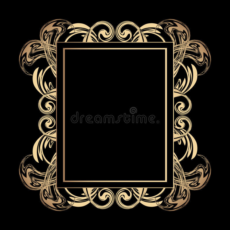 Modern gold design. Luxury golden vintage frame with curls and vignettes in the style of Baroque on black background. Vector stock illustration
