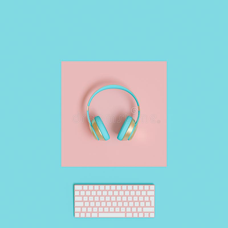 Modern gold and light blue audio headphones and computer keyboard on a two-color background in flat lay style stock illustration