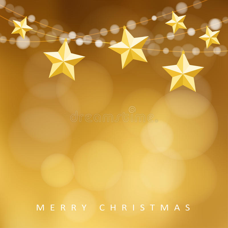 Modern golden christmas greeting card with garland of lights and folded paper stars, royalty free stock photography