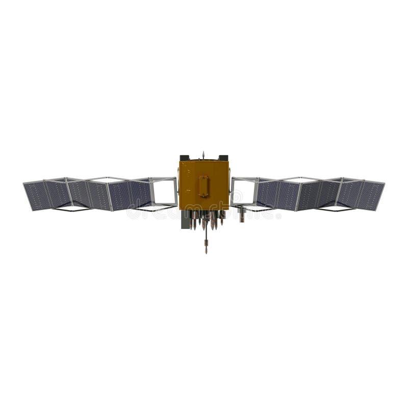 Modern GPS satellit som isoleras på den vita illustrationen 3D vektor illustrationer