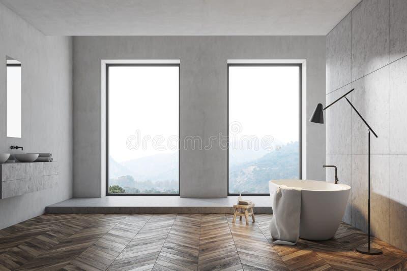 Modern grå badrumidé royaltyfri illustrationer