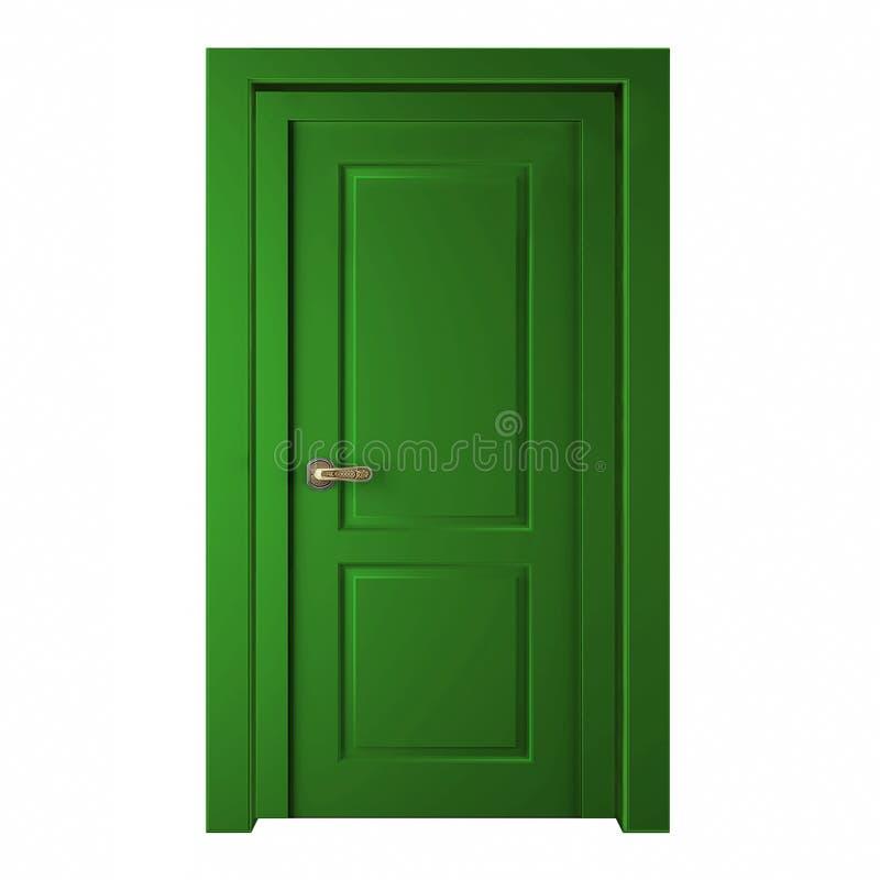 Modern grön rumdörr som isoleras på vit bakgrund vektor illustrationer