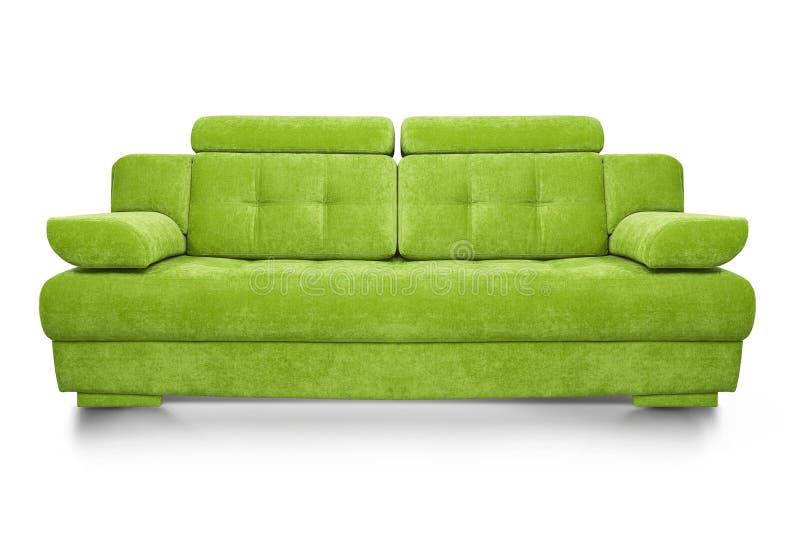 Modern grön soffa som isoleras på vit bakgrund royaltyfri fotografi