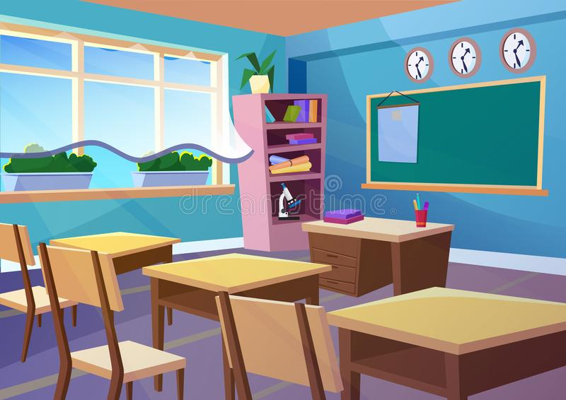 Modern gradient flat vector illustration of cartoon empty school classroom interior. Education class room school concept. Background vector illustration