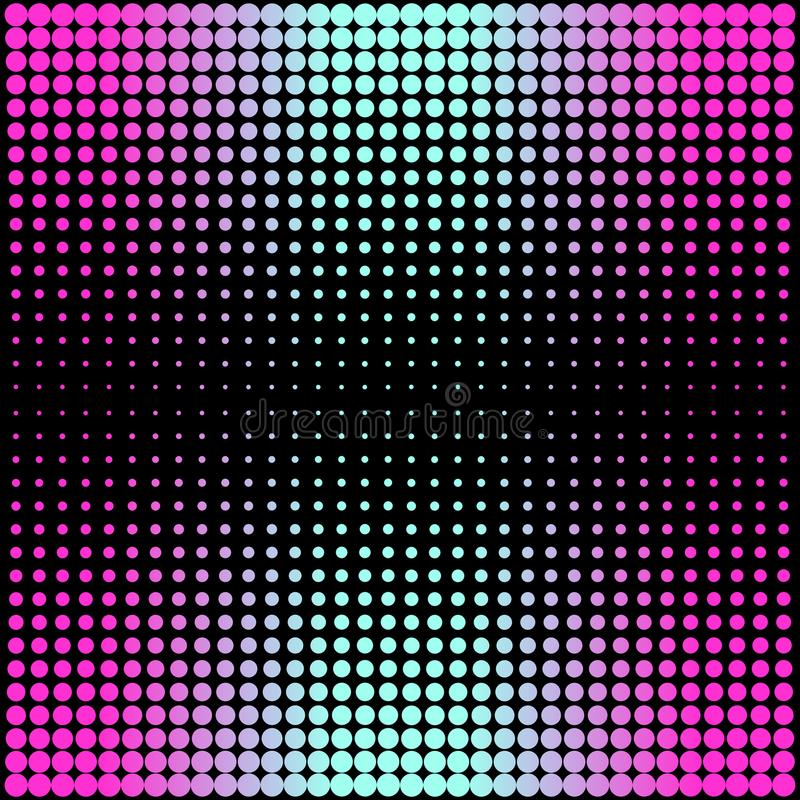 Modern gradient pink to neon blue background with dots in 80s 90s style royalty free illustration