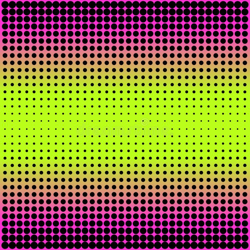 Modern gradient pink to neon green background with dots in 80s 90s style royalty free illustration