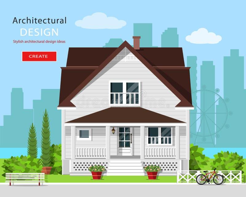 Modern grafisch architectuurontwerp Kleurrijk leuk huis met werf, bank, bomen, bloemen en stadsachtergrond vector illustratie