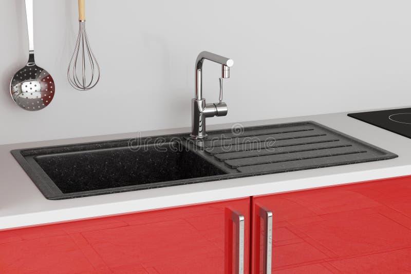 Modern granitdiskho med rostfritt stålvattenklappet, vattenkranbyggande i rött kökmöblemang framförande 3d royaltyfri fotografi