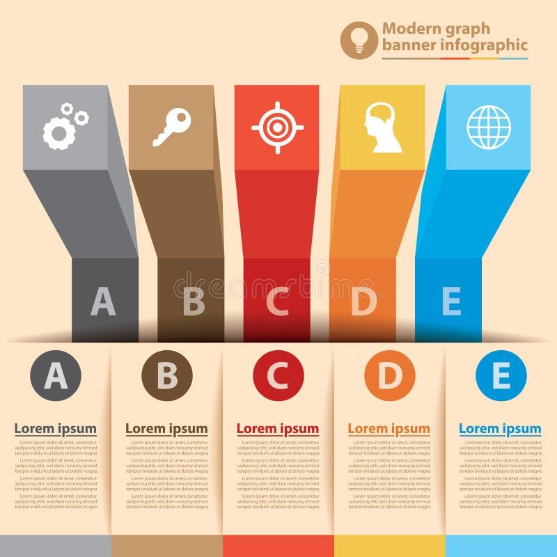 Modern graph banner infographic stock illustration