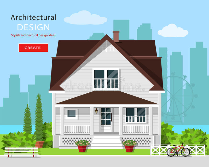 Modern graphic architectural design. Colorful cute house with yard, bench, trees, flowers and city background. vector illustration
