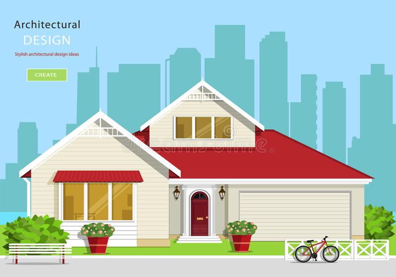 Modern graphic architectural design. Colorful set: house, bench, yard, bicycle, flowers and trees. royalty free illustration