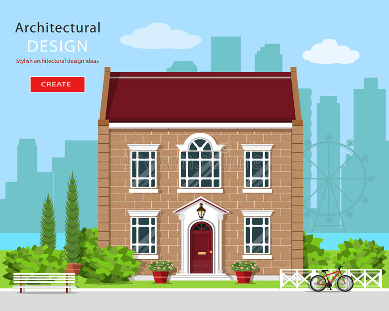 Modern graphic architectural design. Cute brick house. Colorful set: house, bench, yard, bicycle, flowers and trees. vector illustration