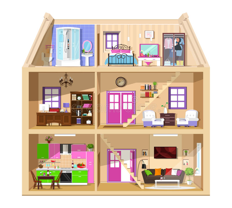 Modern graphic cute house in cut. Detailed colorful vector house interior. Stylish rooms with furniture. House inside. stock illustration
