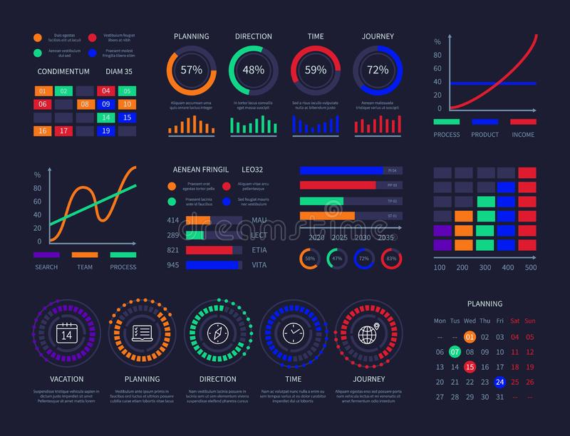 Modern graphic data chart infographic dashboard design template info charts network management interface diagrams. Modern graphic data chart infographic vector illustration