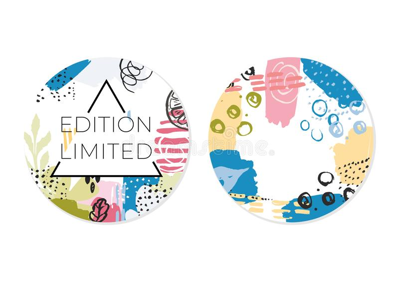 Round abstract promo card set royalty free illustration