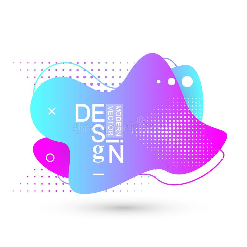 Modern graphic design elements in shape of fluid blobs with geometric lines. Gradient blue and green, red and violet. Geometrical shapes. Liquid stain with vector illustration