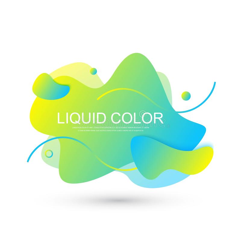 Modern graphic design elements in shape of fluid blobs with geometric lines. Gradient blue and green, red and violet. Geometrical shapes. Liquid stain with stock illustration