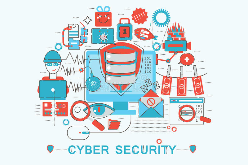 Modern graphic flat line design style infographics concept. Of Cyber security with icons, for website, presentation and poster vector illustration