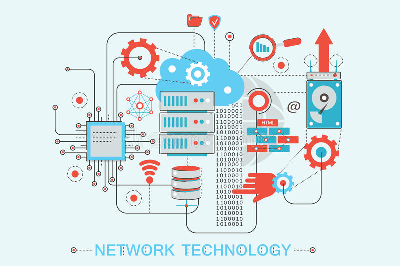 Modern graphic flat line design style infographics concept of global Network technology royalty free illustration