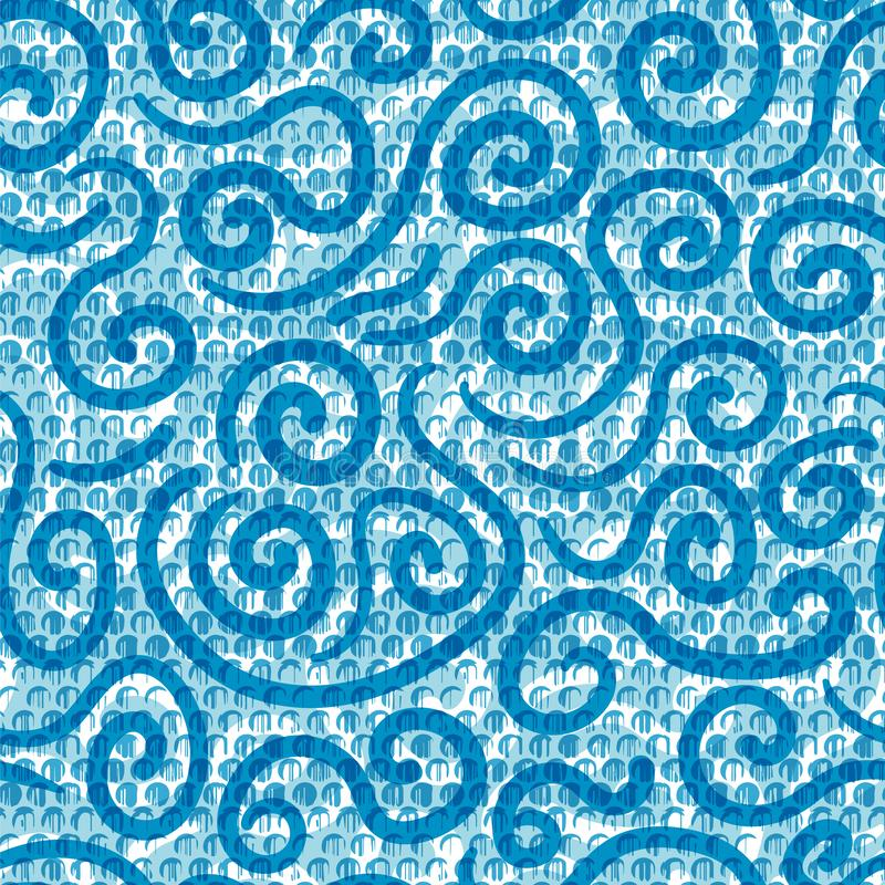 Modern graphic wave pattern seamless background. Water element design in a textured Memphis style with transparency stock illustration