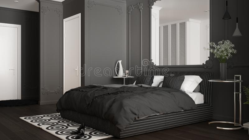Modern gray bedroom in classic room with wall moldings, parquet floor, double bed with duvet and pillows, minimalist bedside. Tables, mirror and decors royalty free illustration