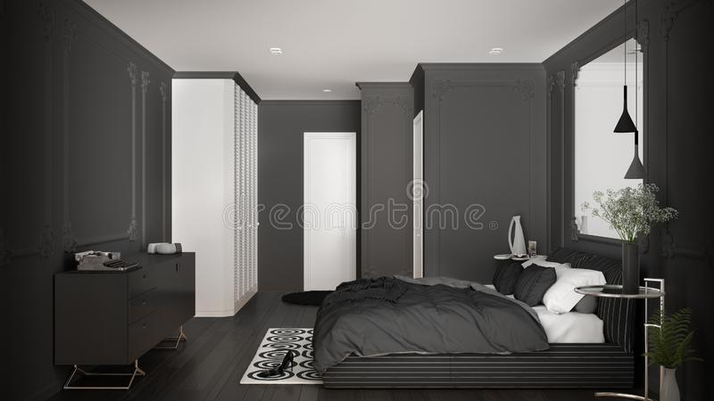 Modern gray bedroom in classic room with wall moldings, parquet floor, double bed with duvet and pillows, minimalist bedside. Tables, mirror and decors vector illustration