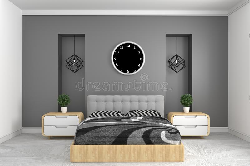 Modern gray bedroom interior with clock lamp and plants on cabinets. Frontal view. 3d rendering royalty free illustration