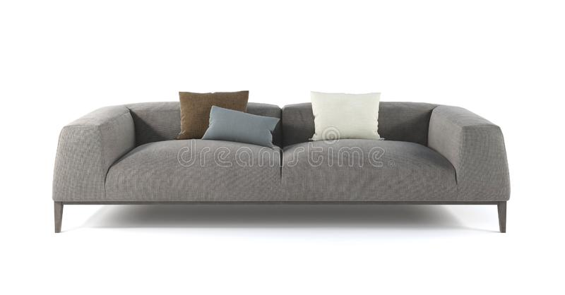 Modern gray fabric sofa with legs and pillows on isolated white background. Furniture, interior object vector illustration