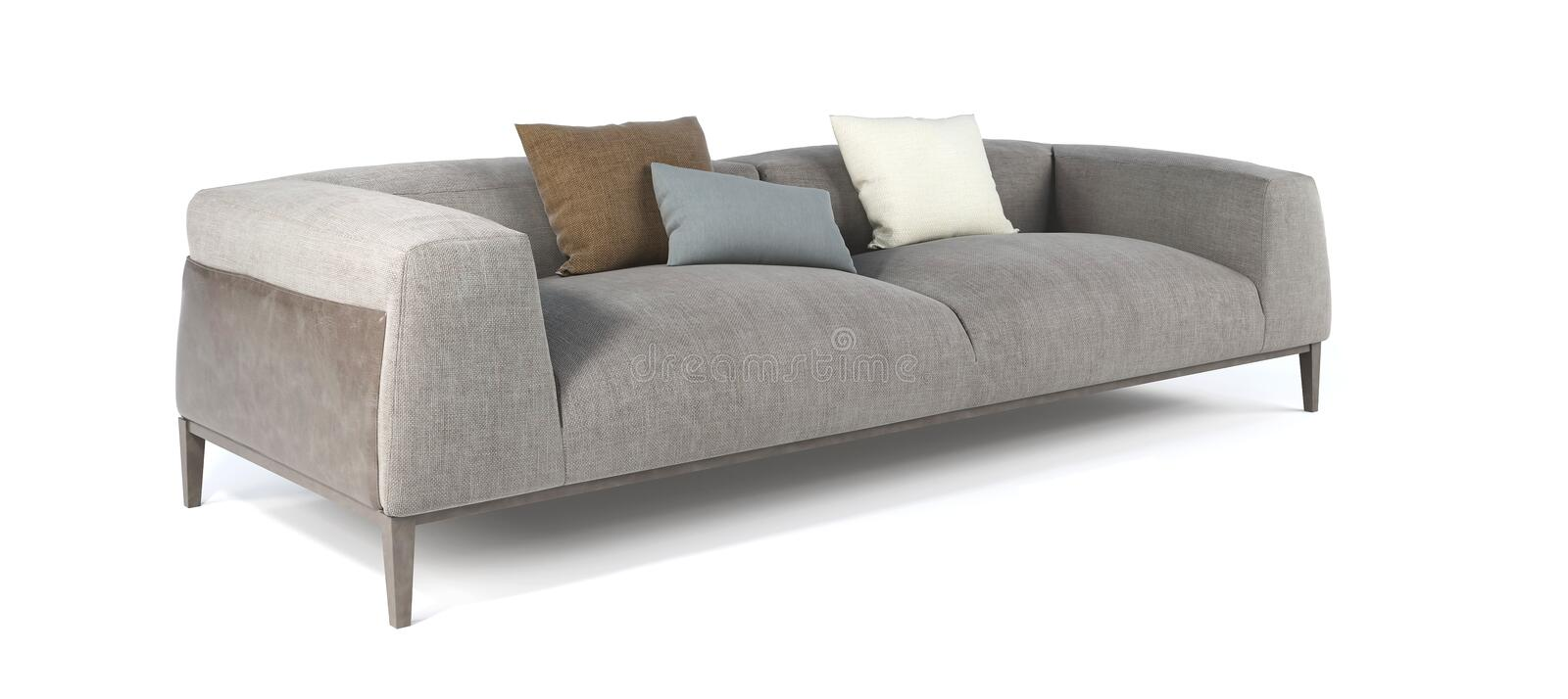 Modern gray fabric sofa with legs and pillows on isolated white background. Furniture, interior object royalty free stock photos
