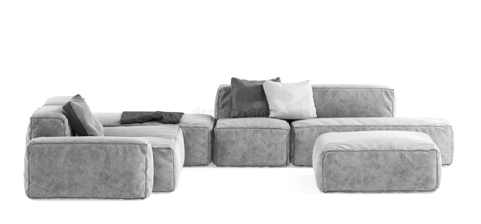 Modern gray modular sofa with pillows and plaid isolated on white background. Furniture, interior object, stylish sofa. High tech. Style, subject for royalty free stock photos