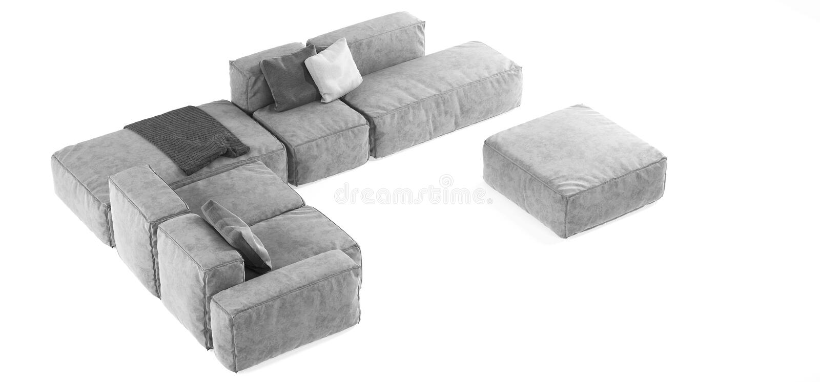 Modern gray modular sofa with pillows and plaid isolated on white background. Furniture, interior object, stylish sofa. High tech. Style, subject for stock photography