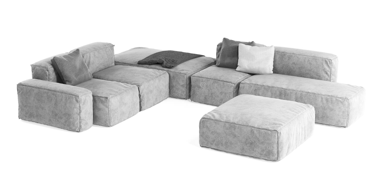Modern gray modular sofa with pillows and plaid isolated on white background. Furniture, interior object, stylish sofa. High tech. Style, subject for stock images