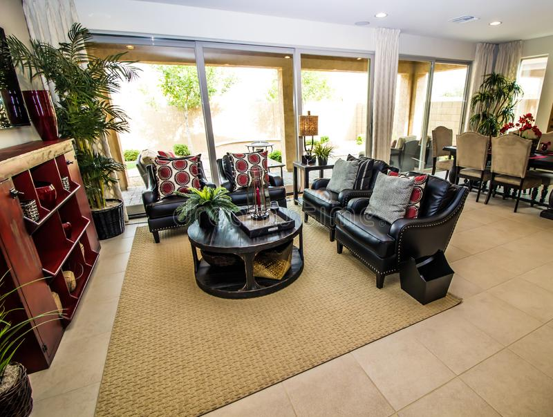 Modern Great Room Looking Outdoors stock photos