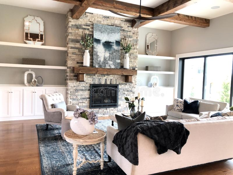 Modern Great Room Meets Farmhouse royalty free stock images