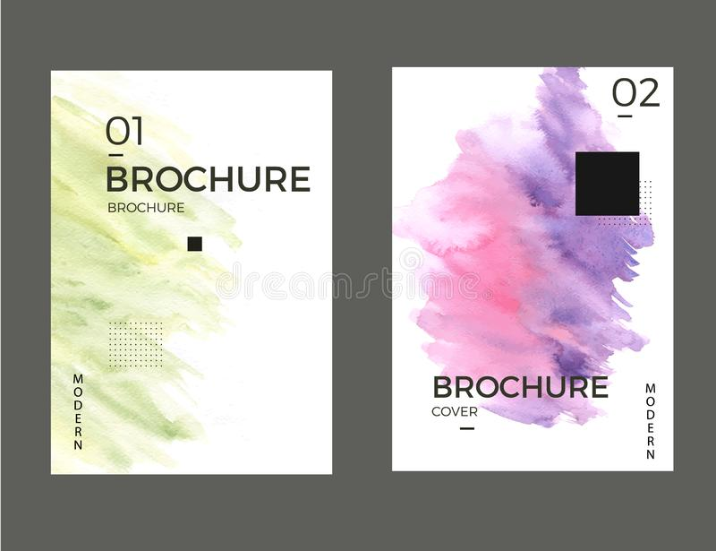 Modern green aznd purple leaflet set. Watercolor background design. Layout page. stock illustration