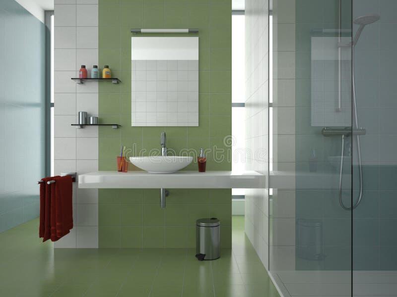 modern green bathroom stock illustration