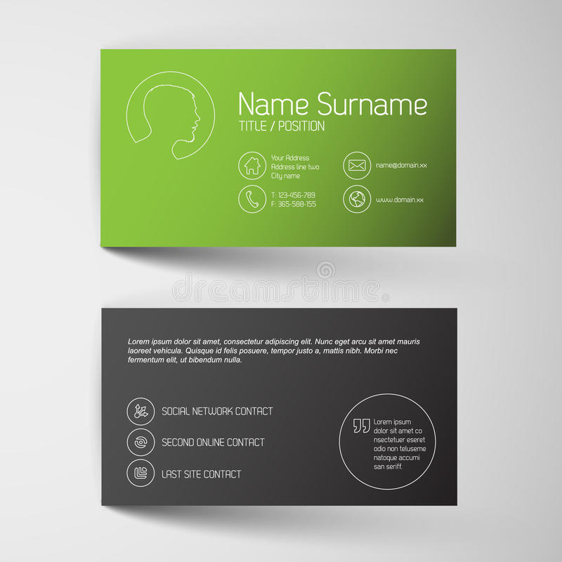 Modern Green Business Card Template With Simple Graphic Stock - Networking business card templates