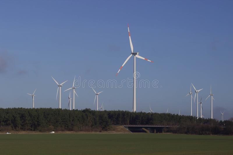 Modern green city powered only by renewable energy sources concept.  royalty free stock photos