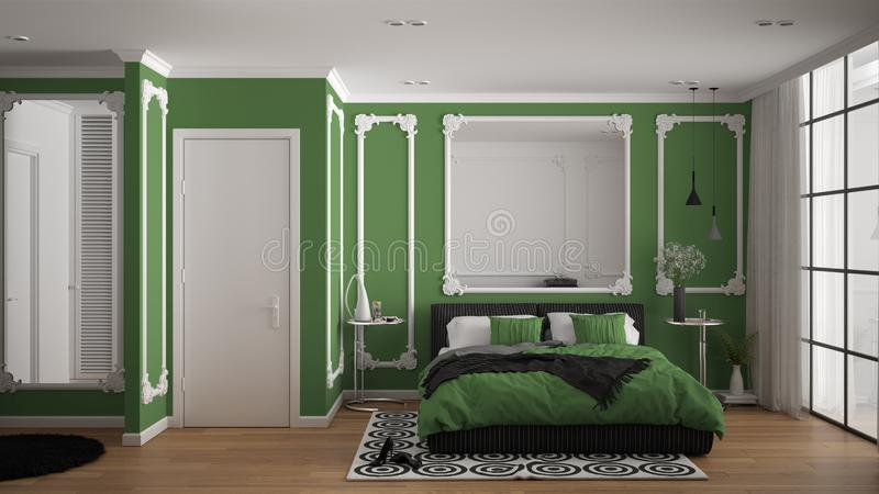 Modern green colored bedroom in classic room with wall moldings, parquet, double bed with duvet and pillows, minimalist bedside. Tables, mirror and decors vector illustration
