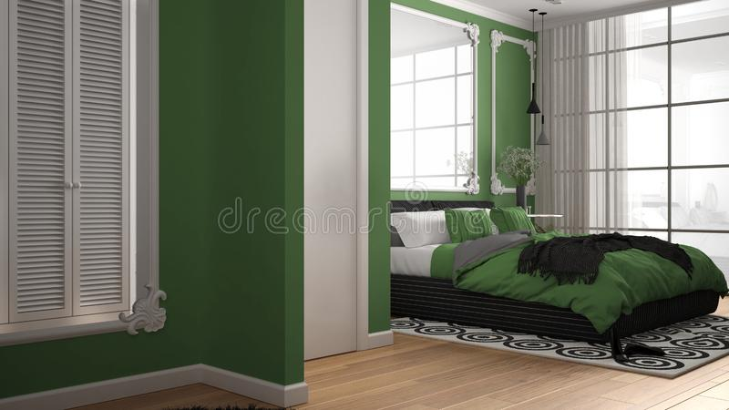 Modern green colored bedroom in classic room with wall moldings, parquet, double bed with duvet and pillows, minimalist bedside. Tables, mirror and decors royalty free illustration