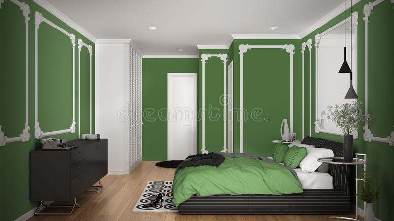 Modern green colored bedroom in classic room with wall moldings, parquet, double bed with duvet and pillows, minimalist bedside. Tables, mirror and decors stock illustration