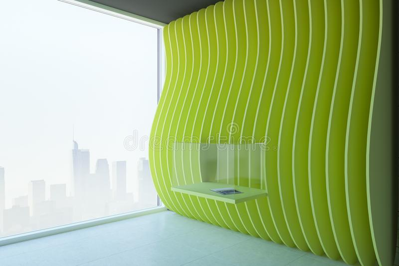 Modern green exposition room. With installation and city view. Museum and gallery concept. 3D Rendering stock illustration