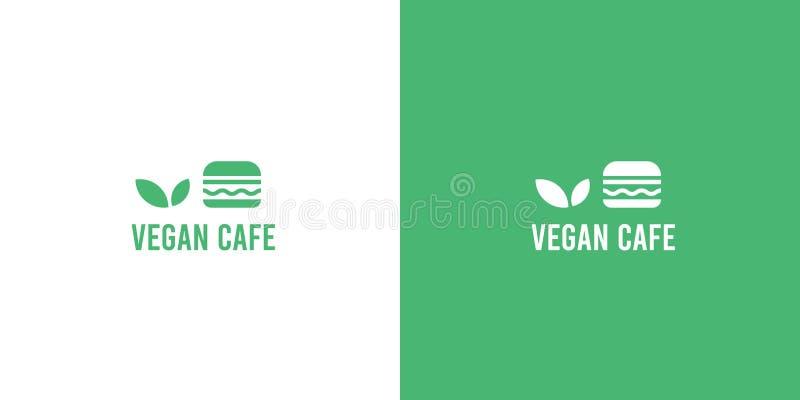Modern green flat organic vegan burger cafe logo royalty free illustration