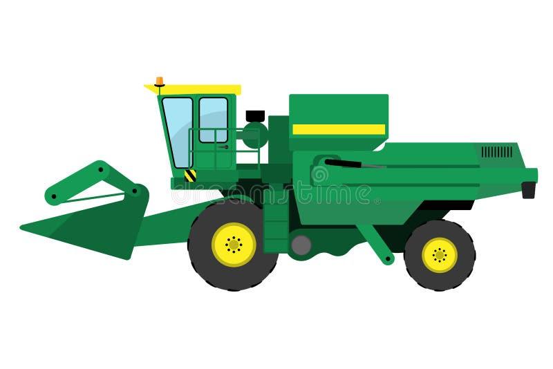 Modern green harvester. On a white background vector illustration