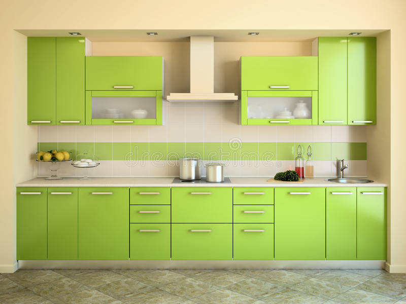 Modern green kitchen. vector illustration