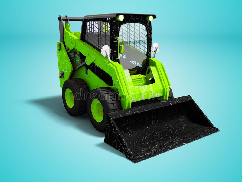 Modern green mini loader after loading stone 3d render on blue b. Ackground with shadow stock illustration