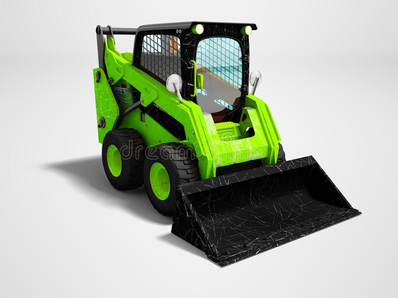 Modern green mini loader after loading stone 3d render on gray b. Ackground with shadow vector illustration