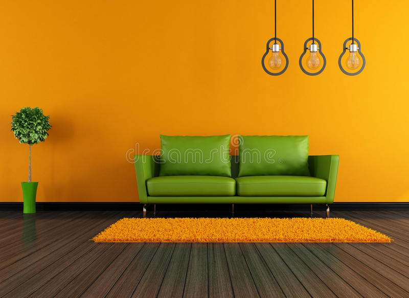 Modern green and orange livingroom vector illustration