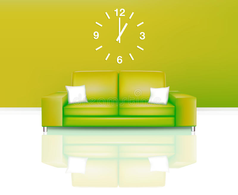 Modern Green Sofa With Time Royalty Free Stock Images